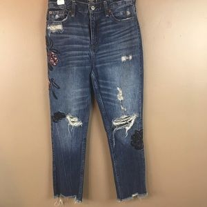Abercrombie Raw Hem Embroidered Distressed Jeans
